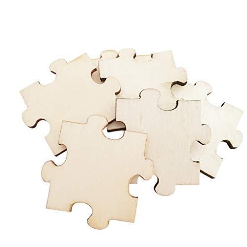 Ecurson ♥Square Blank Puzzle of Wood Pieces Double-Sided Wooden Embellishment DIY for Card Making, Scrap Booking, Decoupage, Sign Making, Arts and Crafts Projects