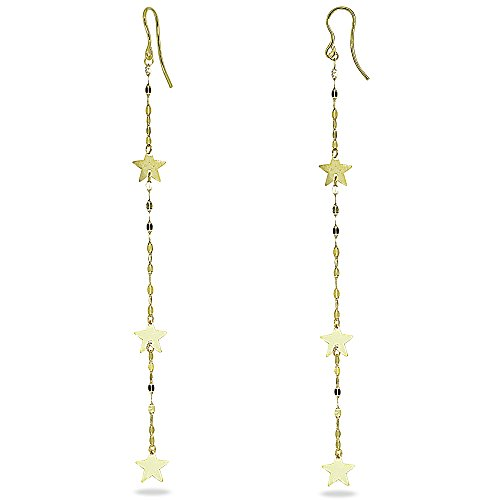 14K Gold Italian Mariner Chain and Star Linear Long Drop Earrings (Star Italian)