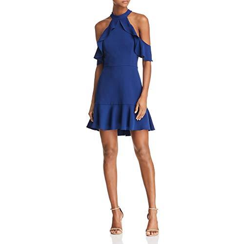 BCBG Max Azria Womens Cold Shoulder Ruffled Cocktail Dress Blue 8