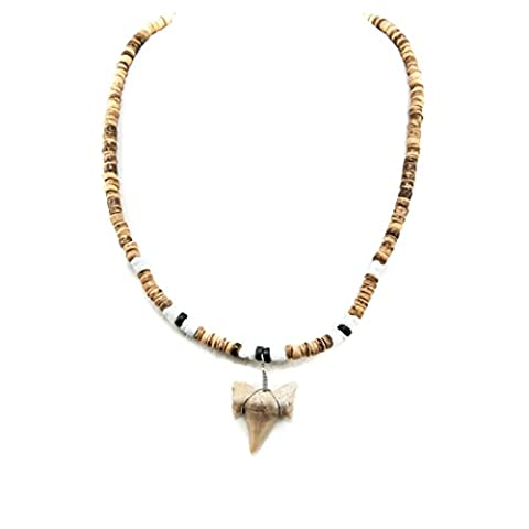 Shark Tooth Pendant on Tiger and Black Coconut Wood Beads Necklace with Puka Shells (2S Shark - Coconut Shell Pendant
