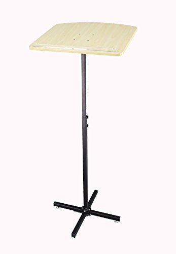 FixtureDisplays Adjustable Height and Angle Metal Stand Wood Top Podium, Music Stand 10772Podium by FixtureDisplays