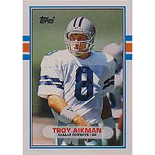 - Troy Aikman 1989 Topps Traded Rookie Football Card #70-T - Shipped In Protective Display Case!