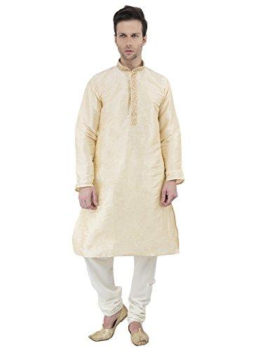 Indian Kurta Pajama Men Long Sleeve Button Down Shirt Pyjama Set Ethnic Wear Wedding Outfit -M by SKAVIJ