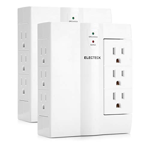 2 Pack – ELECTECK 6 Outlet (3 Swivel & 3 Side-entry) Wall Surge Protector, 1000 Joules Surge Rating, Grounded Outlet Extender, ETL Certified, White