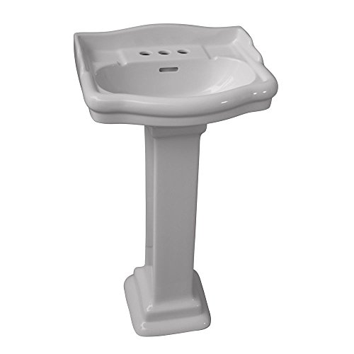 - Barclay 3-874WH Stanford 460 Vitreous China Pedestal Lavatory Sink with 4-Inch Centerset, White
