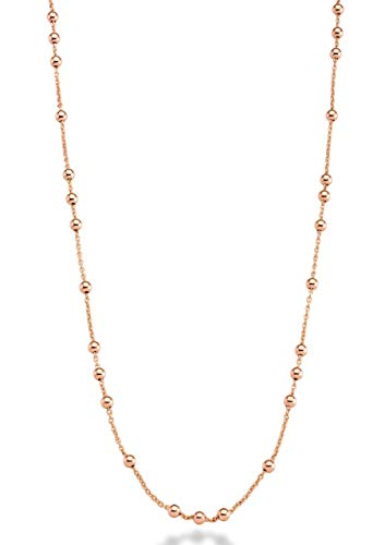 MiaBella 18K Yellow or Rose Gold Over Bronze Italian Bead Ball Rosary Long Wrap Layering Station Chain Necklace for Women, 60