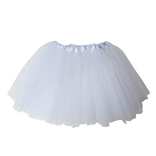 Womens White Ballerina Costume (TRADERPLUS Women's Vintage Petticoat Tutu Ballet Bubble Skirt Party Occasion Accessory (White))