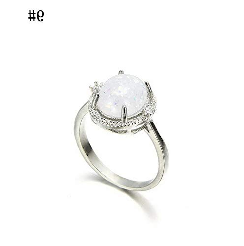 (Wausa Vintage Zircon White Fire Opal Silver Ring Wedding Engagement Women Jewelry Gift   Model RNG - 22418   B 9#)