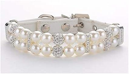 MOTTDAM Collar de Perlas de Piel para Perro, Collar de Perro con Cristales de imitación