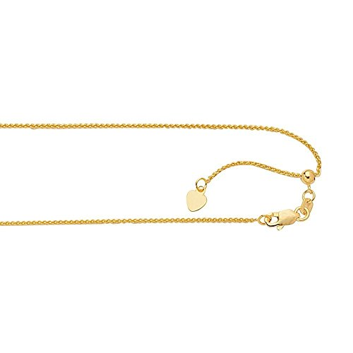 - 14k Yellow Gold 1.1mm Adjustable Wheat Chain Necklace - 30 Inch