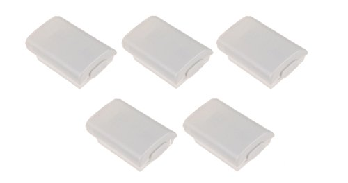 Games&Tech 5 x White Battery Pack Back Cover Case Shell Holder for Xbox 360 Wireless Controller