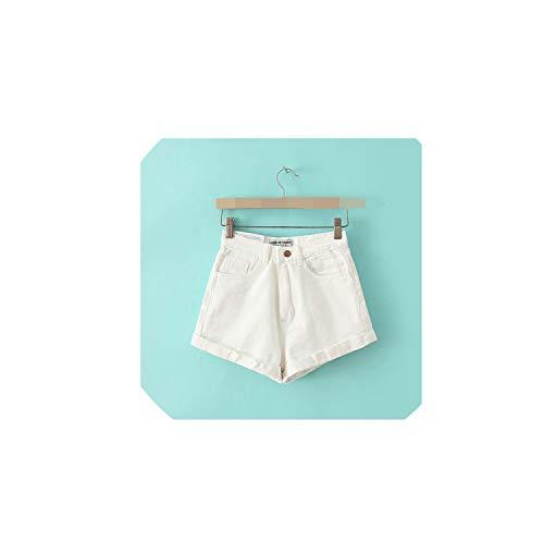 (Solarphoenix Pants Denim Shorts High Waist Basic Casual Jeans Shorts Street Wear Sexy Shorts Blue White,White,25)