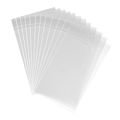 200ct Clear Cello Cellophane Bags Adhesive - 1.4 mils Thick Self Sealing OPP Plastic Bags for Bakery Cookies Christmas Halloween Party Decorative Gift