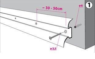 2,5m SOCKELLEISTEN 62mm ESCHE GRAU Fussleisten aus Kunststoff PVC Laminat Dekore
