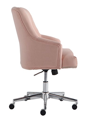 Serta Style Leighton Home Office Chair, Twill Fabric, Blush Pink