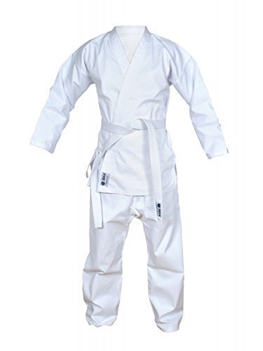 IBAA Adulto Traje Para Practicar Karate Uniforme Gi Artes Marciales con peine gratis blanco Cinturón de kárate - 5/180 cm