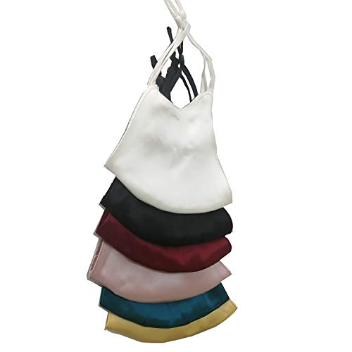 Silk Face Mask for Women Recyclable and Cleanable Keep Warm in Winter,Soft Cloth for The Nobility Black