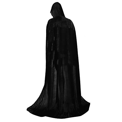 Zhitunemi Full Length Unisex Hooded Cloak Long Velvet Role Cape for Halloween Cosplay Costume Black-XL -