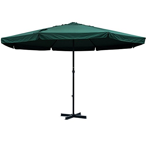 Sundale Outdoor 16 FT Aluminum Patio Umbrella Table Market Drape Umbrella with Crank and Cross Bar Set for Garden, Deck, Backyard, Pool, 8 Alu. Ribs, 100% Polyester Canopy (Dark Green) -
