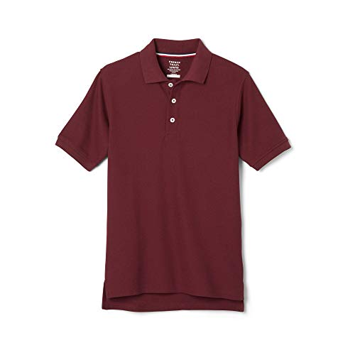French Toast Big Boys' Short Sleeve Pique Polo, Burgundy, Large/10/12