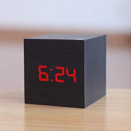 認定デジタル木製LED目覚まし時計ウッドレトログロークロックデスクトップテーブルデコレーション音声コントロールスヌーズ機能デスクツール