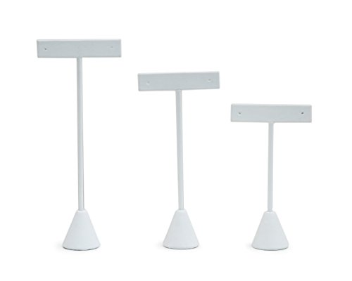 (3-Piece Earring Tree Display Assortment (White Leatherette Jewelry Displays))