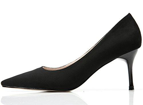BIGTREE Women Wedding Court Shoes Pointed Toe Elegant Suede High Heels Dress Shoes Black zCcQtRqQ