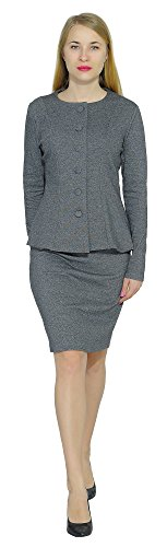 Marycrafts Women's Formal Office Business Work Skirt Suit Set 12 Gray