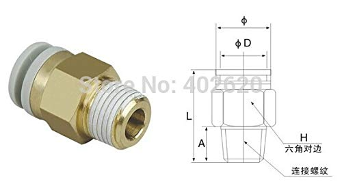 Maslin SMC Type KQ2H04-02S 4mm Tube OD(Outer Diameter) 1/4'' inch Thread Pneumatic One Touch Fitting
