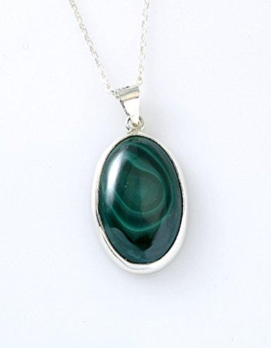 Sterling Silver Genuine Malachite Gemstone Oval Handcrafted Pendant Necklace 16+2'' Extender Chain (Oval Malachite)