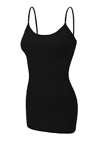 Emmalise Clothing Women's Basic Casual Plain Long Camisole Cami Top Tank, Large, Black