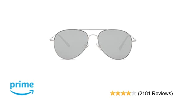 f70a6d6d143 Amazon.com  SOJOS Classic Aviator Mirrored Flat Lens Sunglasses Metal Frame  with Spring Hinges SJ1030 with Silver Frame Silver Mirrored Lens  Clothing