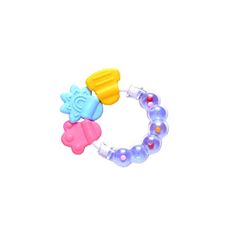 Durable Silicone Rattles Cute Baby Ring Shaped Teether Hand Development Educational Kids Toy Purple