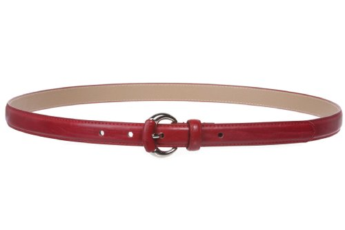 3/4 Inch Semi-covered Stitching Feather Edged Skinny Belt Size: L/XL - 40 Color: Red