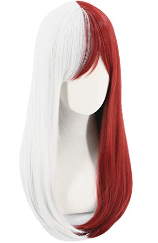 Topcosplay Anime Cosplay Wig Female Long Bangs Halloween Costume Party Wigs Red and Grey Wig]()