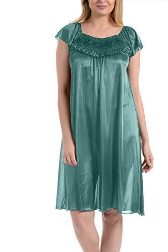 (Ezi Women's Satin Silk Ruffle Nightgown,Sea Green,2X)