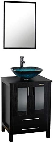 24 Inch Black Bathroom Vanity Square Tempered Glass Vessel Sink Combo 1.5 GPM Faucet Oil Rubbed Bronze Bathroom Vanity Top