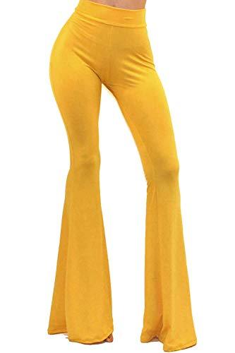 Vivicastle Women's Boho Solid Hippie Wide Leg Flared Bell Bottom Pants (Mustard, Small)