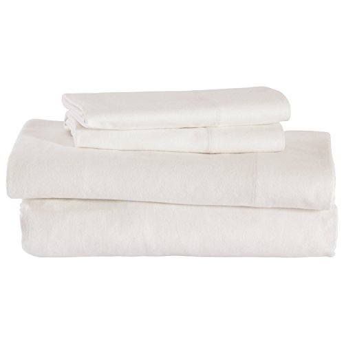 Stone & Beam Rustic Solid 100% Cotton Flannel Bed Sheet Set, Queen, White