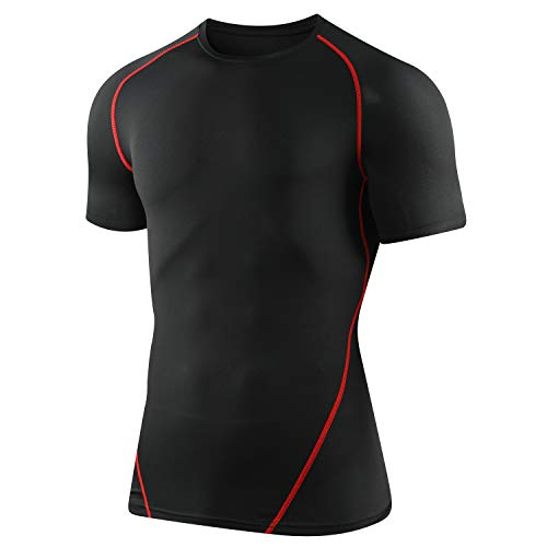 CAWANFLY Men's Compression Shirt Baselayer Short Sleeve Tops Cool Dry Skin Fit Athletic Workout T-Shirts Short Sleeve (Black & Red), M