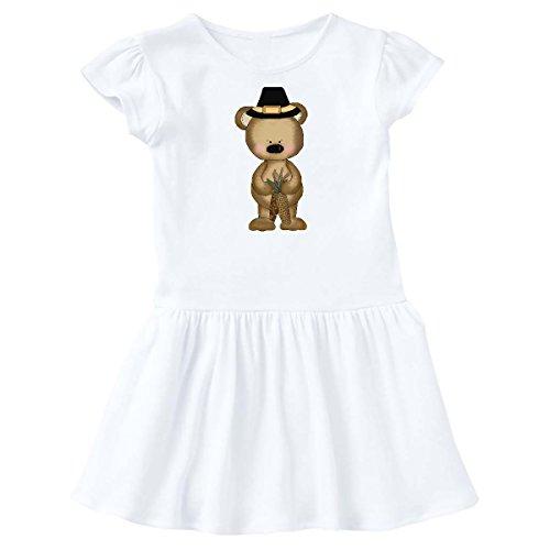 Bears Pinecones - inktastic - Thanksgiving Pilgrim Bear and Pinecones Toddler Dress 2T White 5cb1