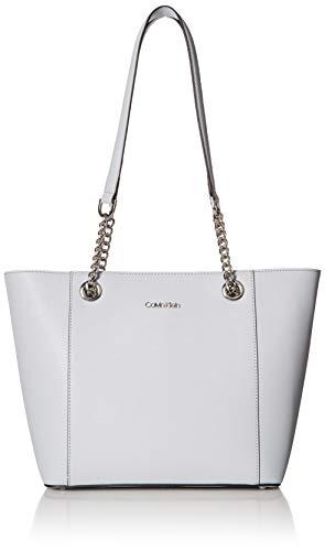 (Calvin Klein Hayden Saffiano Leather East/West Top Zip Chain Tote, blue mist)