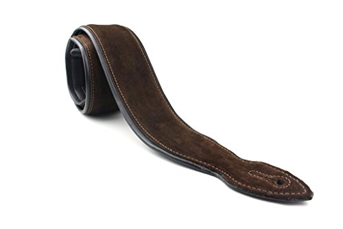 LeatherGraft Walnut Brown Genuine Suede Padded Back Soft Deluxe Guitar Strap - For all Electric, Acoustic, Classical and Bass (Electric Rock Guitar Straps)