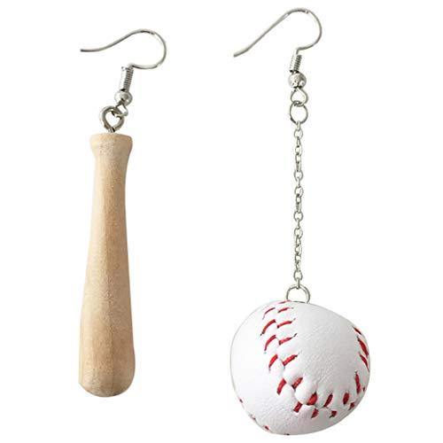 (YOUSIKE Sportswear Wood Drop Earrings Asymmetric Baseball Bat Earrings Fashion)