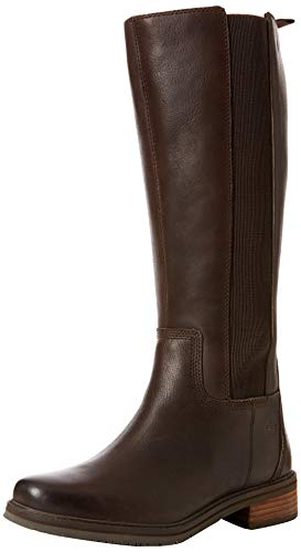 Timberland Women's Mont Chevalier Tall A1SBW Leather Boot Potting Soil-Brown-5 (Timberland Crystal Mountain Tall Lace Up Boot)