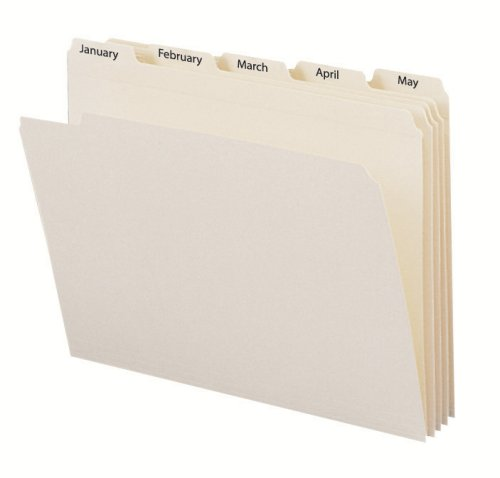 Smead Indexed File Folder Set, Monthly (Jan-Dec) Folders, Reinforced 1/5-Cut Tab, Letter Size, Manila, 12 per Set (11765) (Cut Top Tab Monthly File)