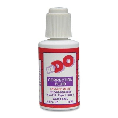SKILCRAFT 7510013336242 Re-Do Correction Fluid, 1/2 Oz Bottle,white, Solvent-Based, 12/box