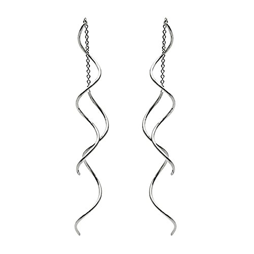 Womens Threader Dangle Earrings Exquisite Wire Curve Thin Twist Sturdy Swirl Chain Drop Earring Jewelry 18k White Gold Plated Jewelry (white gold)