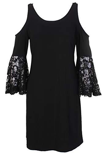 R&M Richards Petite Black Mixed Media Scoop Neck Cold-Shoulder Shift Dress P