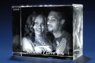 SolikoDeal Personalized 3D Photo Engraving on Crystal Capture Your Memories Forever (Train, Medium)